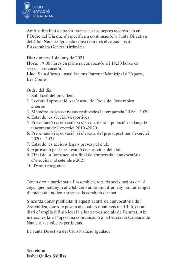 CONVOCATÒRIA ASSEMBLEA 2020-2021